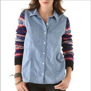 We The Free Crochet Sleeves Button Down L